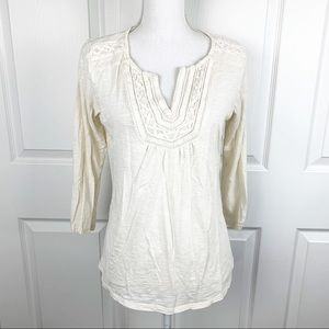 Lucky Brand Ivory 3/4 Sleeve Top
